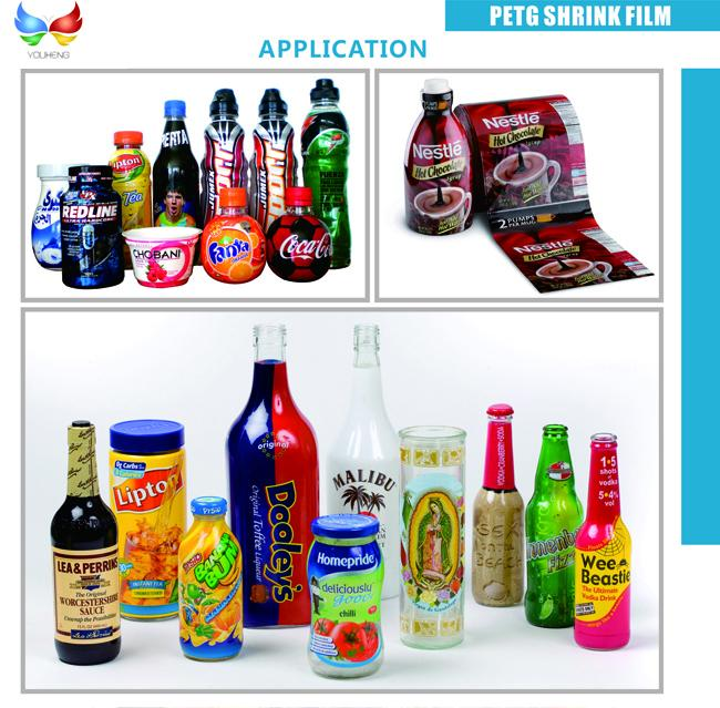 Eco - friendly 40 - 50 mic Transparent PETG Shrinkable Sleeve Label Films For Beverage