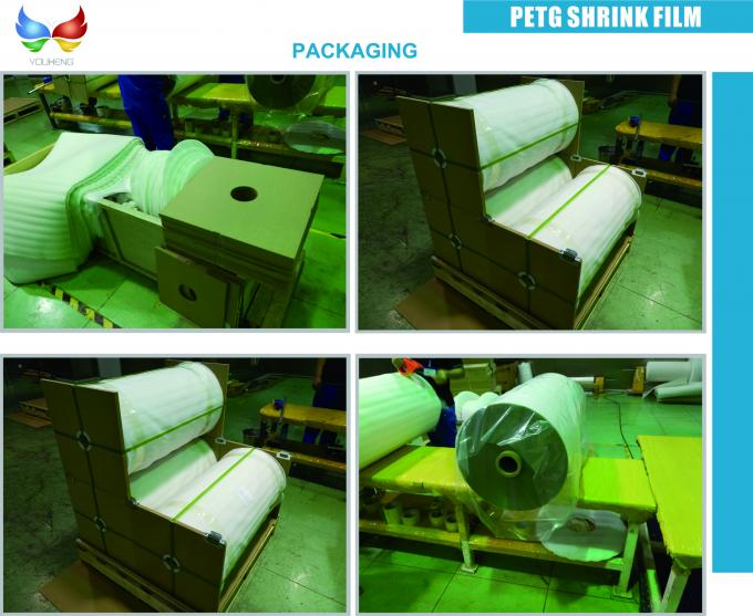Eco - Friendly Heat Shrink Wrap Film , PETG Shrink Packaging Film Roll For Drink Bottle Labels With 30mic